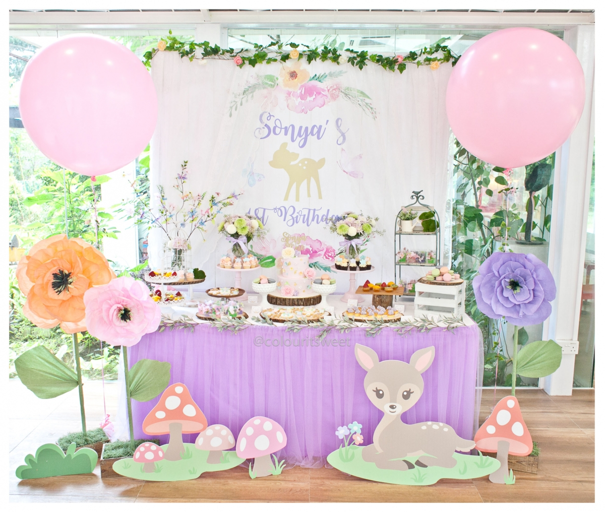 Baby Shower Venues In Singapore: Sonya's Floral Bambi First Birthday » Colour It Sweet